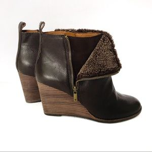 Lucky Brand Leather Faux Fur Wedge Booties